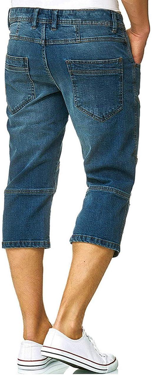 chouyatou Mens Vintage Wash Straight Leg Summer Capri Jeans Denim Shorts