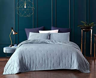 BOURINA Reversible Quilt Coverlet Set Queen - Pre-Washed Microfiber Ultra Soft Lightweight Star Quilted Bedspread 3-Piece Quilt Set, Blue