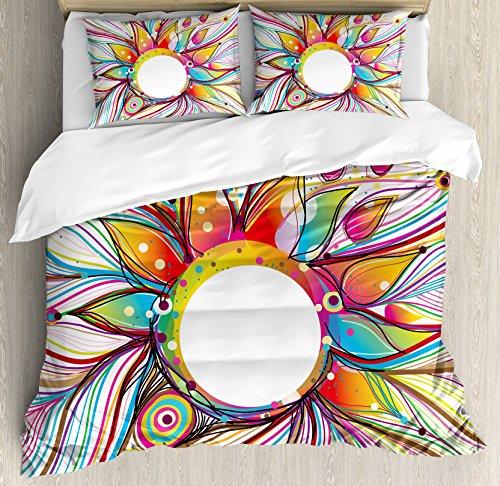 Abstracto Decoración de edredón por Ambesonne, vector Smoky Wavy diseño de flores con rayas y igual Rainbow líneas, juego de cama con almohada decorativa, Multi Color