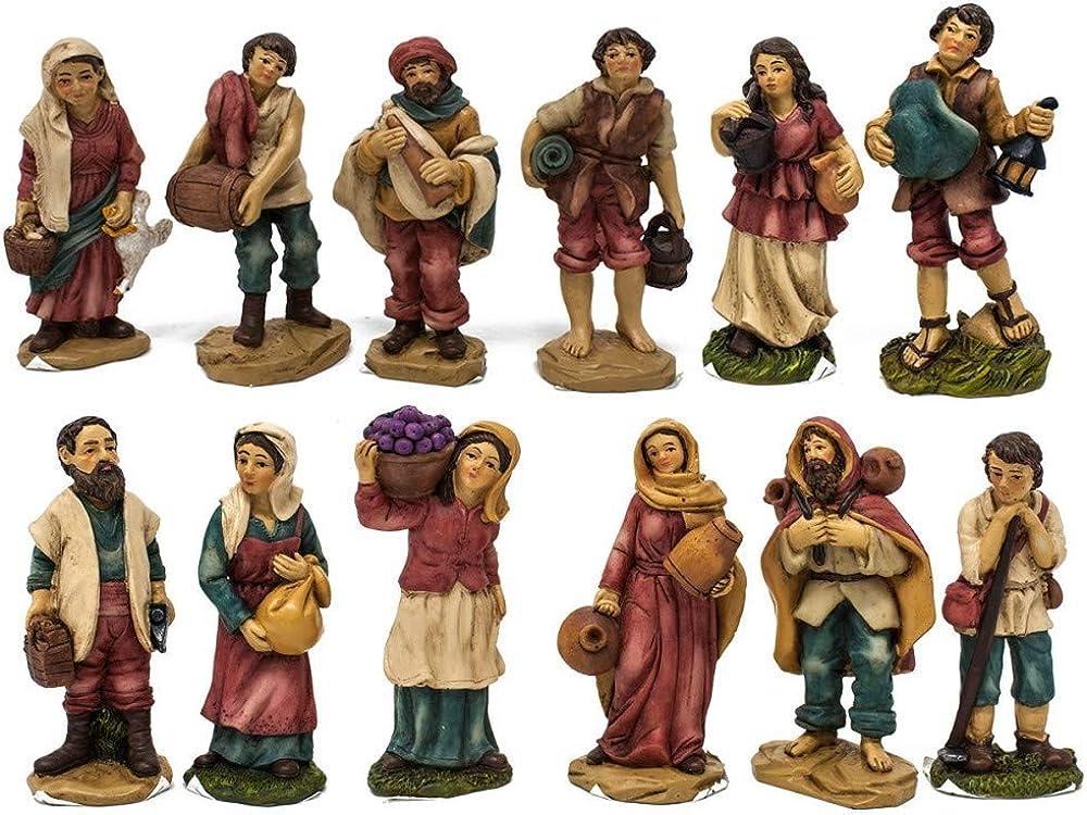 Joy christmas pastori in resina 9 cm che raffigurano mestieri  per presepe set da 12 pezzi 48205
