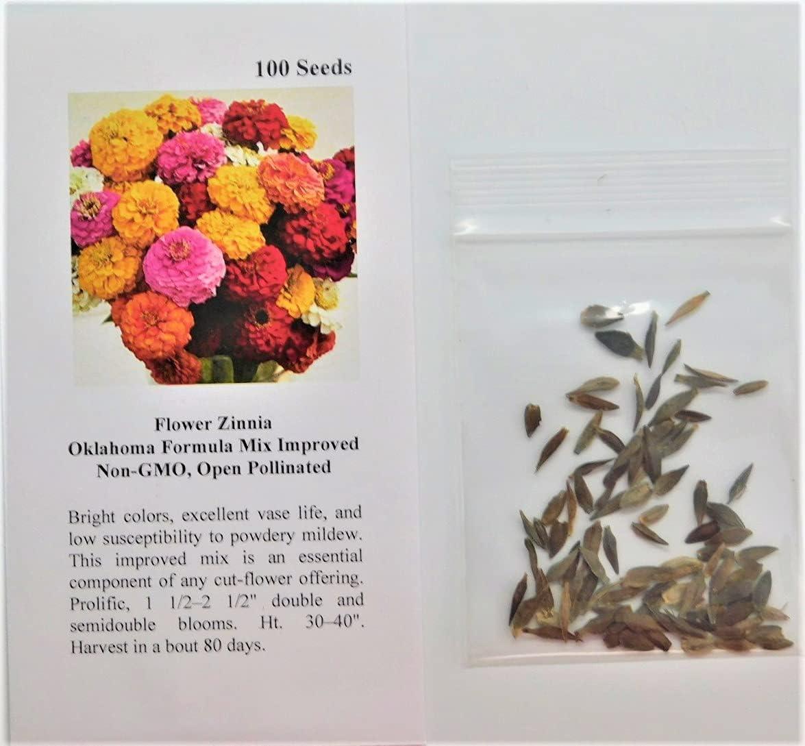 David's Garden Seeds Flower Zinnia Oklahoma Formula Mix Improved 1148 (Multi) 100 Non-GMO, Open Pollinated Seeds