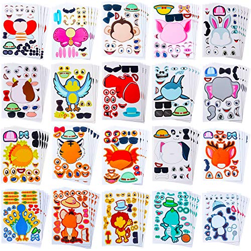 Sinceroduct Make Your Own Stickers for Kids, Make-a-Face Stickers, 100 Pack 20 Animals.Zoo Animals, Sea Creature, Dinosaur and More, Gift of Festival, Reward, Art Craft, Party Favors, School