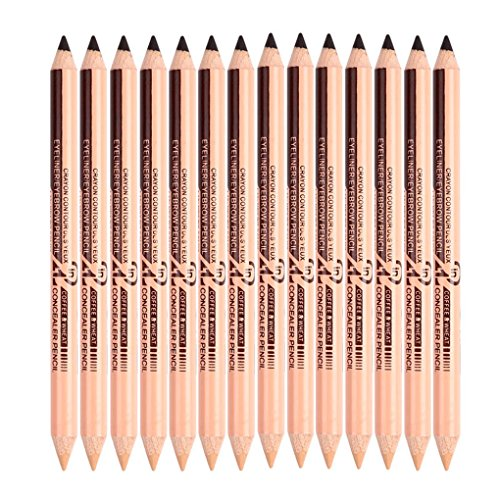 Junecat Menow 12pcs Multifonctions Eyeliner Waterproof Sourcils Concealer Pen Set Double-tête Crayon à Sourcils