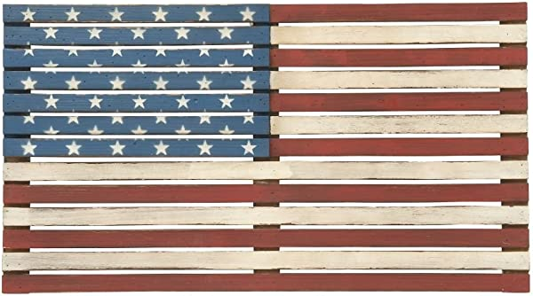 Deco 79 48691 Wood Flag Wall Decor 38 X 21