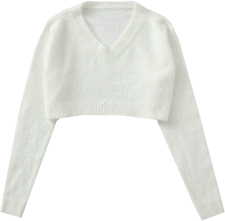 Floerns Women's Long Sleeve V Neck Fuzzy Crop Top Solid Drop Shoulder Pullover Sweater