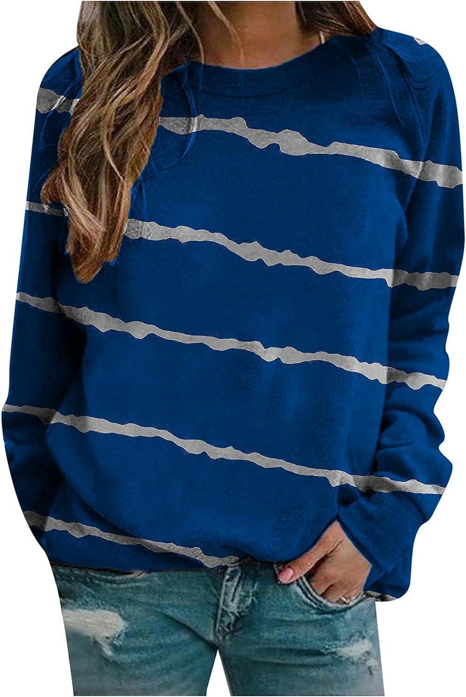 AODONG Womens Long Sleeve Tops,Womens Casual Print Sweatshirts Thermal Crewneck Long Sleeve Tops Loose Blouse Shirts