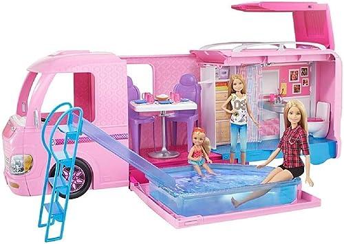 Barbie Mobilier Camping-Car Transformable pour poupées, véhicule de +60 cm incluant deux hamacs, accessoires et pisci...