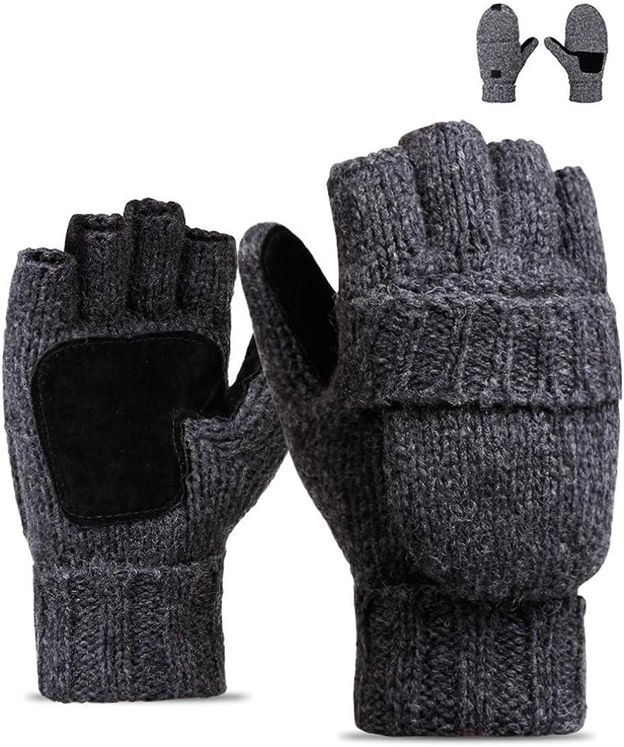 Wxnow Unisex Winter Gloves Warm Wool Knitted Convertible Fingerless Mittens