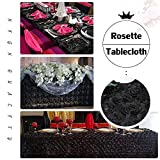 Tablecloth Overlay Rosette Tablecloth 3D Floral 60 x 102 Inch Table Linen Black Table Cloth Satin Rose Table Cover
