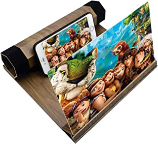 Screen Magnifier Screen Amplifier Mobile Phone Screen Magnifier 12 Inches Wooden Base Smartphone Clean Amplifier Screen Magnifier 3D Desktop Lazy Stand Screen Video Theater Amplifier Screen Magnifying