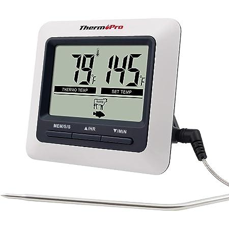 ThermoPro TP04 Thermomètre de Cuisine Numérique avec Sonde Grand Écran LCD Minuteur et Température Préréglée Thermomètres pour Cuisson au Four, le Barbecue et la Viande