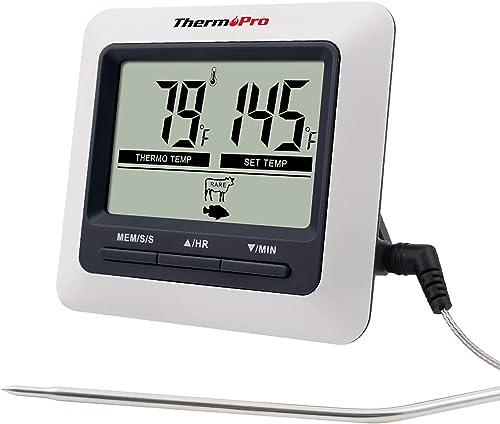 ThermoPro TP04 Thermomètre de Cuisine Numérique avec Sonde Grand Écran LCD Minuteur et Température Préréglée Thermomè...