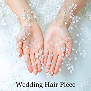Catery Bride Wedding Headband Silver Crystal Flower Hair Vine Pearl Bead Head Piece for Women and Girls