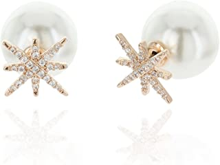 North Star Double Sided AAA Cubic Zirconia And Simulated Pearl Stud Earrings