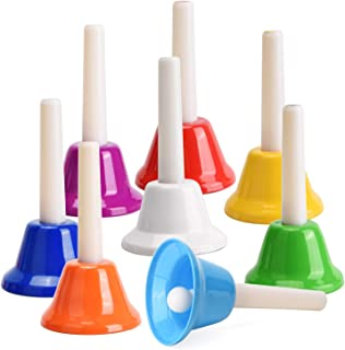 Facmogu 8PCS Handbells Set, Colorful 8 Note Diatonic Metal Music Bells, Percussion Instrument For Festival, Musical Teachi...