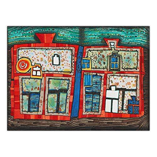 Kunstdruck Auf Leinwand,Österreichische Friedensreich Hundertwasser Kunst, 2 Rote Fenster, Für Haus Hotel Bar Wohnzimmer Schlafzimmer Fenster Dekor, Raum Teiler, Wand Hintergrund, Picknick Decken,