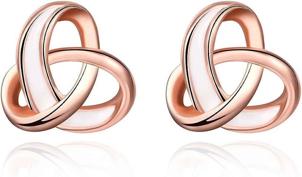BuycitKy 18K Rose Gold Twist Love Knot Stud Earrings for Women Teen Girls Loveknot Post Earrings,with Buycitky PU Jewelry Pouch