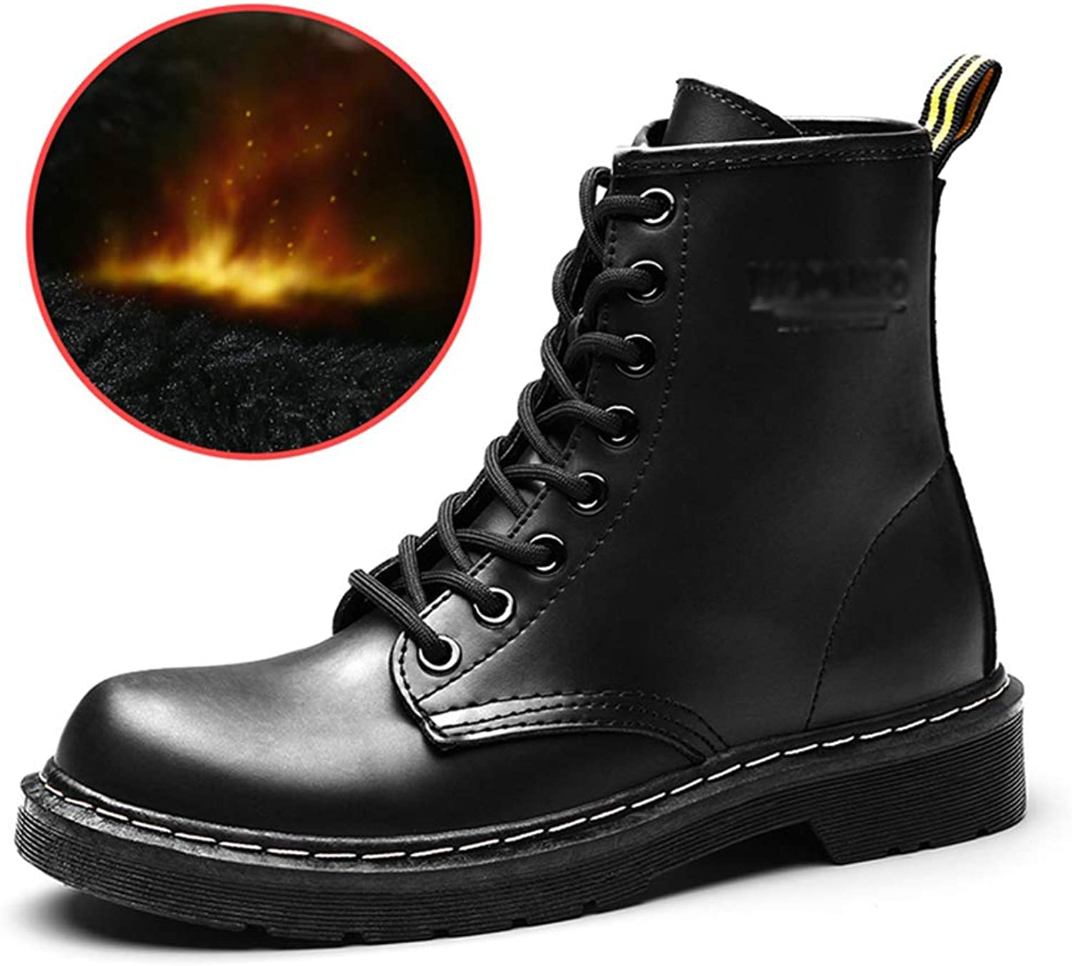 Velvet Warm Short Barrel Martin Boots, Simple Leather Fashion Trend Female Boots Leather shoes,35