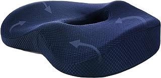 WLLL Cojin Coxis de Espuma Memoria Portátil, Cojin Ortopédico de Espuma de Memoria con Antideslizante y Ergonomicos, Cojines antiescaras para sillas de Oficina, Coche, Sillas Gaming (Azul)