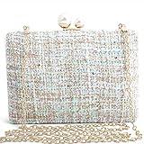Bolso De Noche Mujeres Bolsos De Noche para Mujer Bolso De Hombro Messenger Vintage Clutch Satchel Crossbody Chain Monederos Y Bolsos De Boda Box-Green