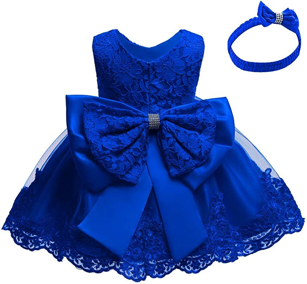 IBTOM CASTLE Flower Pageant Formal Dress for Baby Girls Tulle Lace Bowknot Baptism Embroidery Birthday Gown w/Headwear