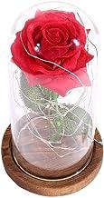 Valentijnsdag nachtlampje, mooie uitstraling Rose licht glas en hout materiaal Rose nachtlampje duurzaam en stevig voor Va...
