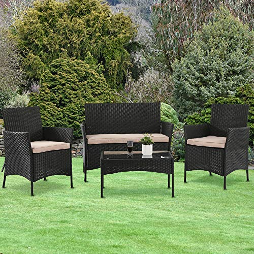Dkeli 4 Pieces Outdoor Wicker Bistro Sets Patio Furniture with Thickened Cushions & Table Modern Rattan Chair Conversation Sets for Backyard Porch Poolside Lawn Garden, Black