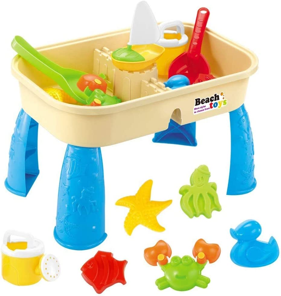 KELEQI Children Square Inventory cleanup selling sale Sand Water Table Adjustabl 2-in-1 Topics on TV Center