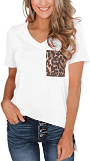 SVALIY Womens Summer Short Sleeves Casual Loose V Neck T Shirts Basic Tops Leopard Pocket