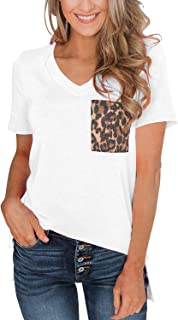 Womens Short Sleeves Casual Loose V Neck T Shirts Basic Tops Leopard with Pocket