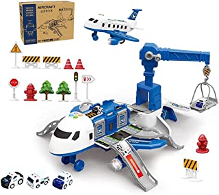 Licogel Plane Toy Set Funny Detachable Smooth Plastic Realistic Airplane Scene Toy Police Car Toy Road Sign Toy Battery