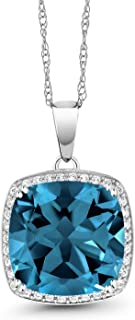 Gem Stone King 10K White Gold London Blue Topaz and White Diamond Pendant Necklace, 8.54 Cttw Cushion Cut with 18 Inch Chain