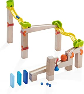 HABA Ball Track Basic Switch Track - 41 Piece Wooden Marble Run with Plastic Elements (Made in Germany)