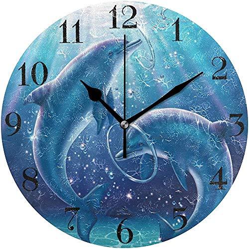Cy-ril Belle Dauphin Horloge Murale silencieuse Horloge Murale Ronde fonctionnant sur Batterie Non Ticking Horloge décorative créative