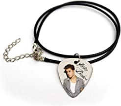 Justin Bieber Printed guitar pick plectrum cord necklace 18