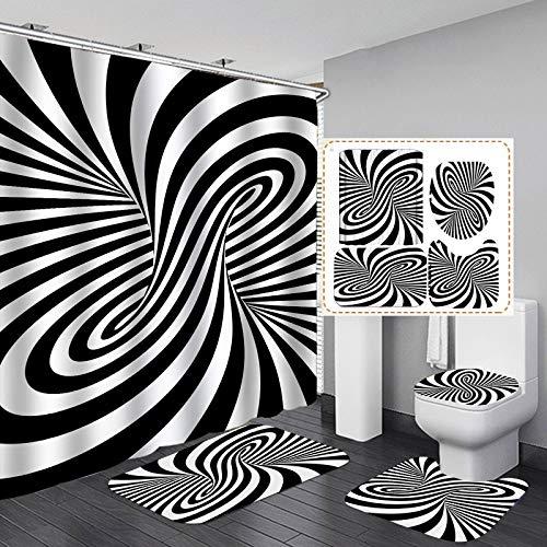 TY&WJ 4stk Festgelegt 3D Visuelle Illusion Duschvorhang Set Mit Non-Slip Teppich Toilettendeckelabdeckung Badematte Und 12 Haken,3D-Wirbel Bad Dekor Vorhänge-F 180x200cm(71x79inch)