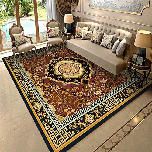 Alfombra Decoracion Salon Black Brown Amarillo Vintage Alfombra Agua Lavado Suave Sucio Sala de Estar Antideslizantes alfombras Decoracion baño 300*400cm