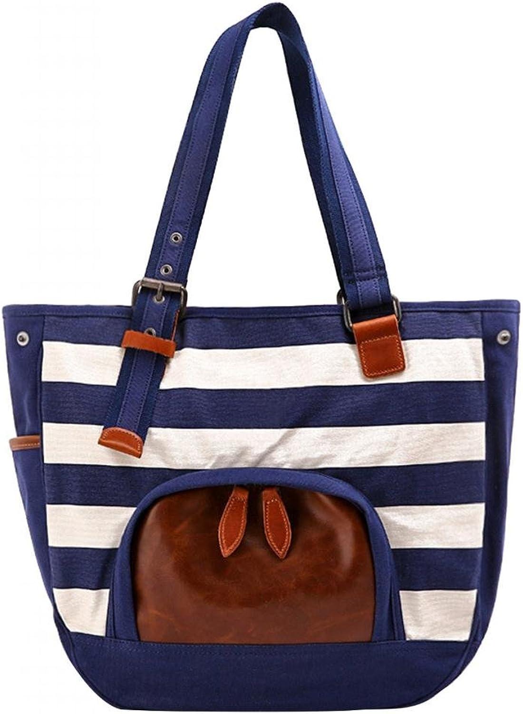 MedzRE Women's bluee White New Design Striped Shoper Tote Weekend Hand Bag