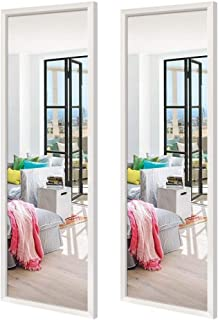 Schliersee Wall Mirrors Full Length 14x48 inch Rectangular White Framed Wall Mirror for Bathroom Living Room Bedroom, Set of 2 Packs