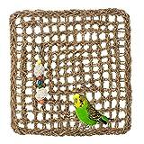 AHANDMAKER Juguete de Pared para Escalar Y Buscar Pájaros, Alfombrilla de Red Tejida para Hamacas de Escalada Y Búsqueda de Aves de Seagrass, Parrot Hanging Seagrass Wall Gym con Cuerda
