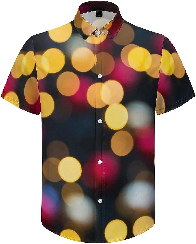 Men's Short Sleeve Button Down Shirt Lights Colorful Summer Shirts