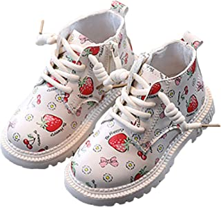 Hopscotch Girls PU Lace Up Fruit Print Ankle Boots in Beige Color