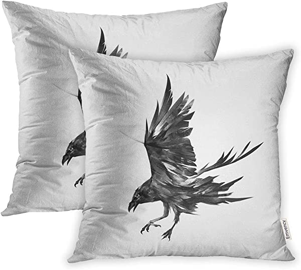 Emvency Set Of 2 Throw Pillow Covers Print Polyester Zippered Crow Of The Attacking Bird Raven Black Ink Air Pillowcase 20x20 Square Decor For Home Bed Couch Sofa