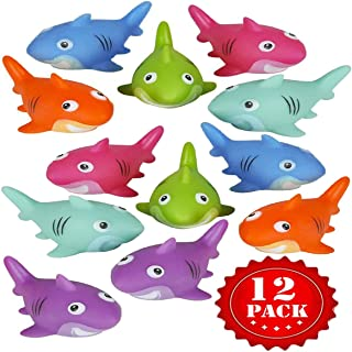 Funlop Colorful Rubber Sharks (Pack of 12) Neon Squeezable & Squirtable Smiling Sharks, for Kids Pool and Baby Bathtub Play, Under The Sea Themed Birthday Party Favors, Goodie Bag, & Decorations