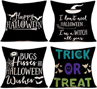 Smilyard Happy Halloween Quote Pillow Case Witch BatSpider with Black Background Decorative Home Pillow Covers Square Cotton Linen Pillow Cover Holiday Decor Sofa 18x18 Inch 4Pack (Halloween-Q Set)