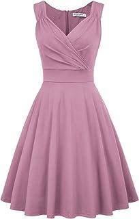 GRACE KARIN Women's Casual Short Sleeve Pleated Midi Dresses CL622
