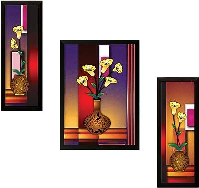 SAF Diwali Gift UV Textured Flower Print Framed Painting Set of 3 for Home Decoration – Size 35 x 2 x 50 cm PhotoS70