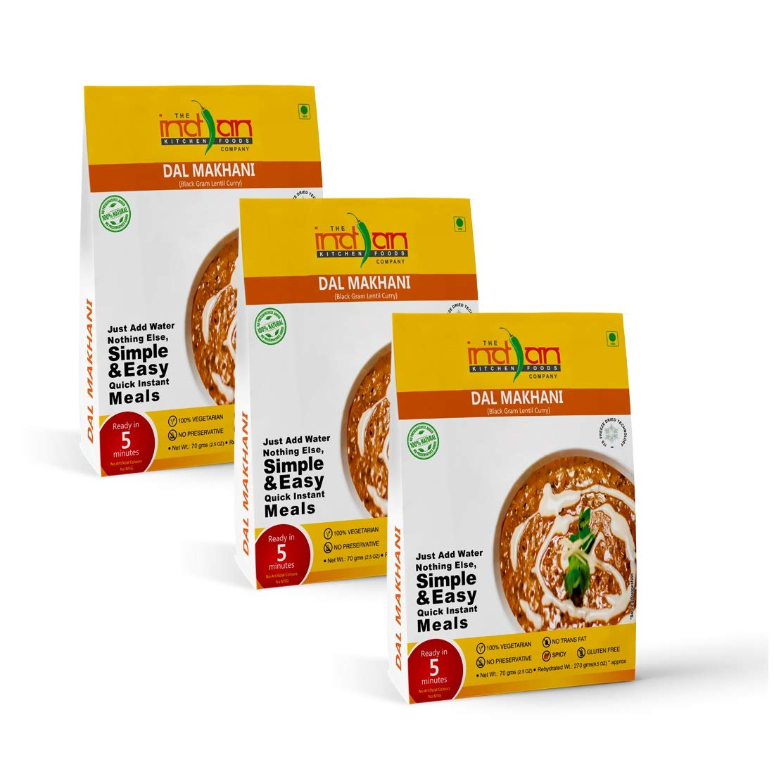 The Indian Kitchen Foods Co. Black Gram Lentil Curry (Dal Makhani) - Freeze Dried Gluten-Free Gourmet Indian Entree Ready in 5 min Vegetarian Meal - Rehydrated 9.50 oz Pack of 3