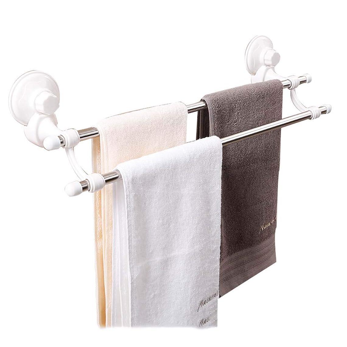 人口密皿JPPQSZS バスルームの棚のタオルラックフック付きタオルバーホルダー浴室のためのサクションカップ付き壁タオルラック多機能 JPPQSZS (色 : 白, サイズ さいず : L-46.5CM)