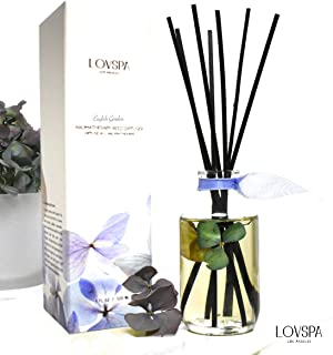 LOVSPA English Garden Reed Diffuser Sticks Gift Set - Real Hydrangea Flowers in The Bottle - Jasmine, Rose, Hyacinth and Lily of The Valley Scented Room Freshener - Made in The USA